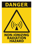 Non-ionizing radiation hazard safety area, danger warning text sign sticker label, large icon signage, isolated black triangle Stock Photos