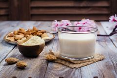 Non latte della mandorla del vegano della latteria in un vetro alto Fotografia Stock Libera da Diritti