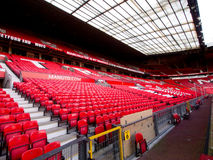 Non Match Day at Manchester United West Stand. Empty seats on a non-match day at the Stretford End or the West Stand in Old Trafford Stadium, home of Manchester Stock Photography