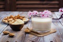 Non mjölkar mejeristrikt vegetarianmandeln i ett högväxt exponeringsglas royaltyfri fotografi