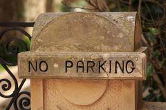 NO PARKING in stone Royalty Free Stock Photo