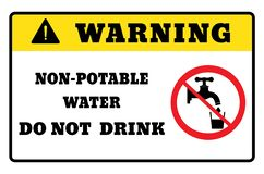 Non-potable water.warning sign drawing by illustration. Non-potable water board vector illustration