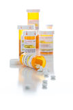 Non-Proprietary Medicine Prescription Bottles and Spilled Pills Royalty Free Stock Photography
