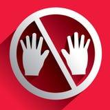 Non può toccare il bianco del segno Fotografie Stock Libere da Diritti