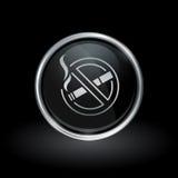 Non röka silver för symbolsinsidarunda och svartemblemet stock illustrationer