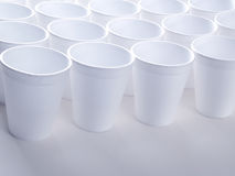 Non recyclable foam cups. Non recyclable polystyrene foam cups with copy space Stock Photos
