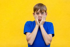 Non sappia Ragazzo freckled divertente in vetri gialli immagini stock