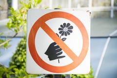 Non selezioni il segno dei fiori Immagine Stock Libera da Diritti