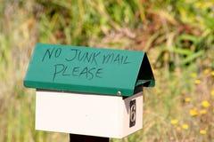 Non si inverdica cassetta postale della posta di roba di rifiuto immagini stock libere da diritti