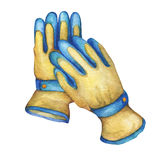 Non-slip coated gloves- gardening tool. Hand drawn watercolor painting on white background Stock Photography