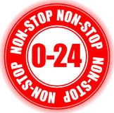 0/24, non-stop business hours opening hours badge, button Stock Images
