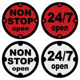 Non stop open and twenty-four seven open Stock Photos