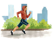 Non stop. Running man - symbol of the modern megapolis Stock Images