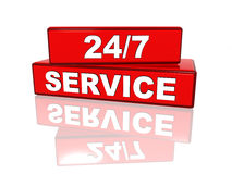 Non-stop service. 24/7 service - white text on red boxes Stock Images