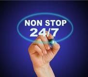 NON STOP. Writing word NON STOP 24/7 with marker on gradient background made in 2d software Stock Image