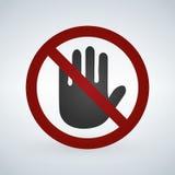Non tocchi l'icona, illustrazione di vettore isolata su fondo bianco illustrazione vettoriale