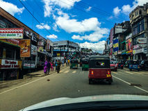 Bandarawela, Sri Lanka. Small village in Sri Lanka. Picture taken from a car, showing real life of Srilankan people, in a non-touristy city Royalty Free Stock Photo