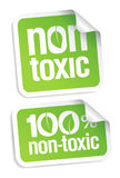 Non toxic stickers. Non toxic product stickers set Stock Photos