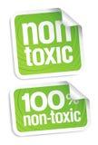 Non toxic stickers. Non toxic product stickers set stock illustration