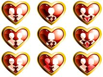 Non-traditional families heart-shaped buttons Stock Images