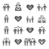 Non-traditional family icons set black Royalty Free Stock Photography