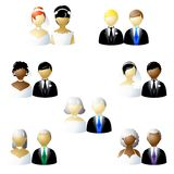 Non-traditional weddings icon set. Set of icons of different types of modern wedding couples.  Graphics are grouped and in several layers for easy editing. The Stock Photos