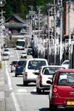Non-urban street in Takayama. Takayama, Japan - April 4, 2008: Non-urban street in Takayama city, Japan royalty free stock images