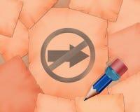 Non vada in quei simbolo della direzione e piccola matita con  Fotografie Stock