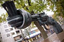 Non-Violence, Gothenburg. There are sixteen of this sculpture around the world, the most famous outside of the United Nations Headquarters in New York. The royalty free stock photography