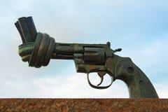 Non-Violence. MALMO, SWEDEN - JUNE 29: A bronze sculpture Non-Violence Carl Fredrik Reuterswärds on June 29, 2014 in Malm Stock Photo