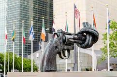 Non Violence Sculpture at UN stock photos