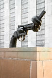 Non Violence sculpture UnitedNations headquarters Royalty Free Stock Images