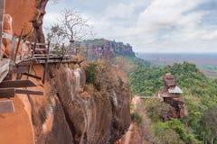 Non visto in Tailandia e la montagna in Tailandia, del tok di stupore di Phu o Wat Jetiyakiree Viharn Temple Fotografia Stock