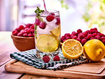 Nonalcoholic cocktails with lemon slice and raspberries with mint leaf. Cold non alcoholic cocktails with lemon slice and raspberries with mint leaf. Lemonade Royalty Free Stock Image