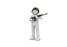 Noname Soldier. 3d isolated characters on white background series stock illustration