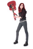 Nonconformist. Girl nonconformist with guitar isolated Stock Photography
