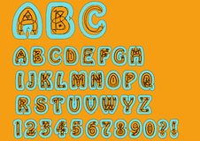 Nonconformist bizarre alphabet. Original font set with doodle elements, uppercase characters and numbers, question mark, exclamati Royalty Free Stock Image