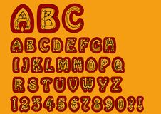 Nonconformist bizarre alphabet. Original font set with doodle elements, uppercase characters and numbers, question mark Royalty Free Stock Image