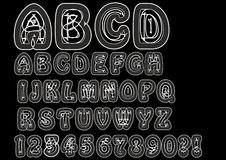 Nonconformist bizarre alphabet in white line. Original font set with doodle elements, uppercase characters and numbers, question m Royalty Free Stock Image