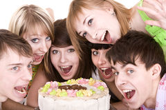 生日庆祝组少年 免版税库存图片