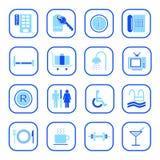 蓝色旅馆图标系列 库存图片