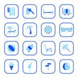 蓝色图标系列旅行 免版税图库摄影