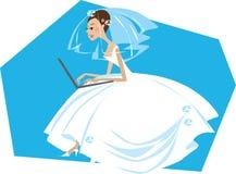 新娘计算机工作 免版税库存图片