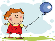 滑稽气球的男孩 图库摄影