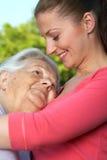 拥抱祖母 图库摄影