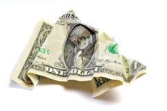 起皱纹的被弄皱的美元 库存图片