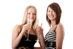 享用二名妇女的偶然香槟新 免版税库存照片