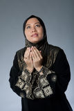给穿衣的伊斯兰回教传统妇女 库存图片