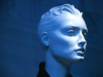 蓝色时装模特 免版税库存照片