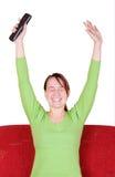 极度高兴的妇女年轻人 免版税库存图片